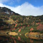 Krajobraz gór i jeziora