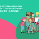 Obrazek przedstawiający rysunek promujący kampanię Wchodzę, przedstawia grupę osób uśmiechniętych osób w tym osobę na wózku dla Osób Niepełnosprawnych.
