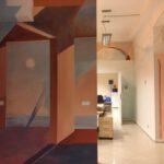 Zdjęcie przedstawia freski na korytarzu w pomieszczeniu Stowarzyszenia Przyjaciół Integracji