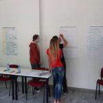 Zdjęcie przedstawia uczestników warsztatów zapisujących pomysły w trakcie warsztatu.